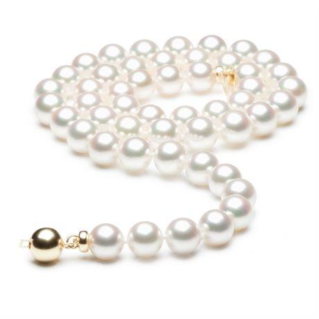 Collier perles Akoya luxe - Perle du Japon qualité GEMME - 7/7.5mm