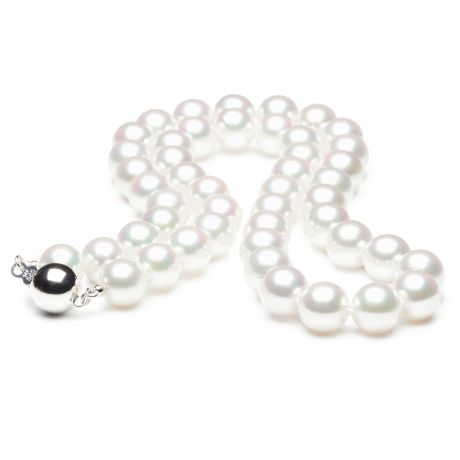Collier perles fines - Collier perle Akoya blanche Japon - 7.5/8mm