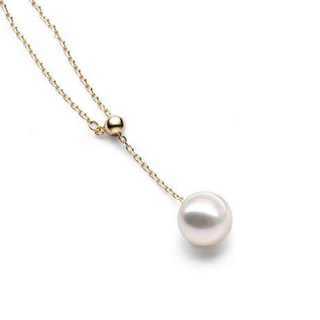 Pendentif perle Akoya 8/8.5mm. Chaîne coulissante Or jaune