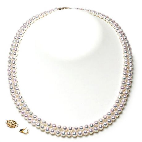 Collier 2 rangs - Perles de culture du Japon -  Perle Akoya - 4.5/5mm