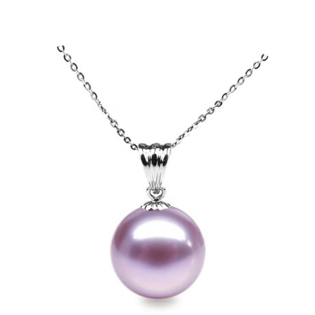 Collier une perle lavande - Pendentif or blanc