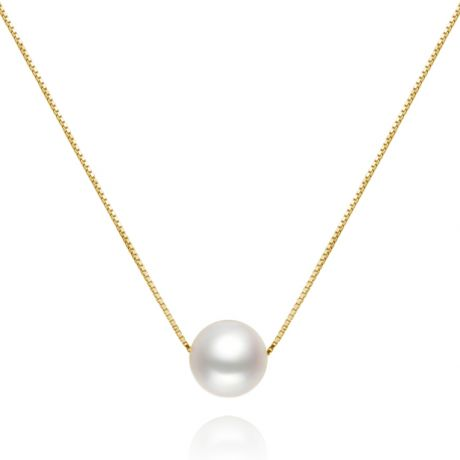 Collier pendentif perle blanche 9/10mm - Chaine or jaune