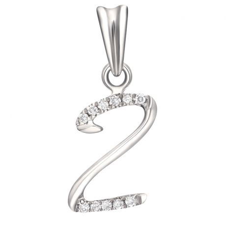 Pendentif chiffre 2 - Or blanc 18cts - Diamants 0.055ct