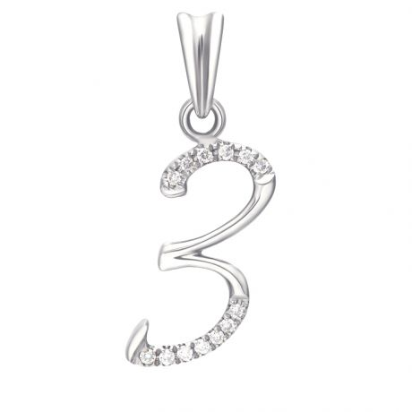 Pendentif chiffre 3 - Or blanc 18cts - Diamants 0.065ct