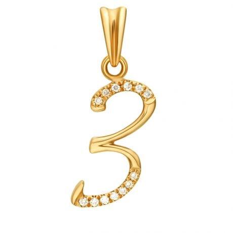 Pendentif chiffre 3 - Or jaune 18cts - Diamants 0.065ct