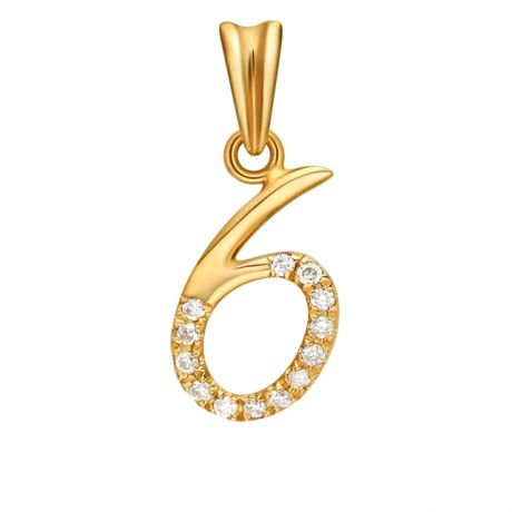 Pendentif chiffre 6 - Or jaune 18cts et diamants 0.065ct