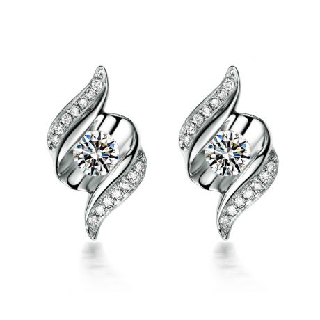Boucles d'oreilles pendantes. Or blanc Diamants. Carat personnalisable
