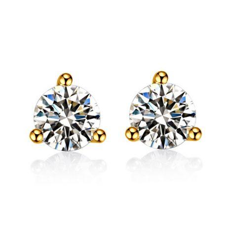 Puces diamants 0.10ct. Or jaune. Carat personnalisable