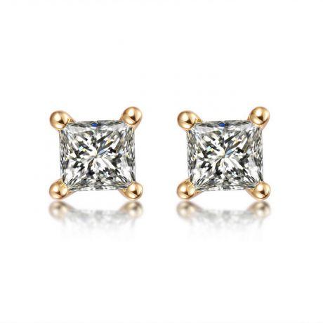 Puces diamants taille princesse 0.20ct. Or jaune. Personnalisable