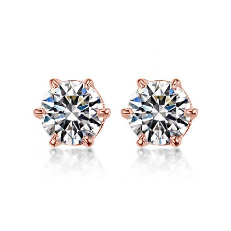 Puces diamants 0.50ct. Or rose. Carat personnalisable