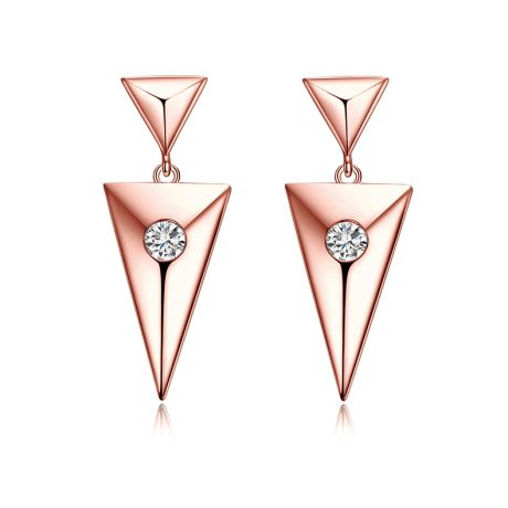 Pendants d'oreilles triangles Or rose. Diamants 0.10ct