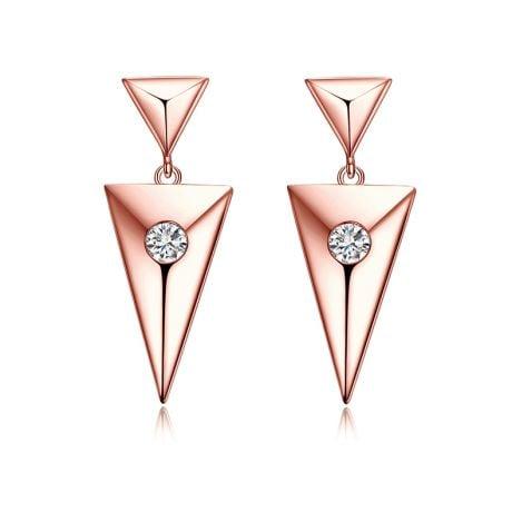 Pendants d'oreilles triangles Or rose. Diamants 0.10ct