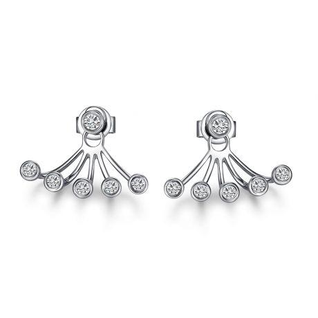 Puces et pendants or blanc diamants. Tentacules