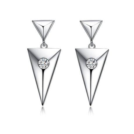 Pendants d'oreilles triangles Or blanc. Diamants 0.10ct