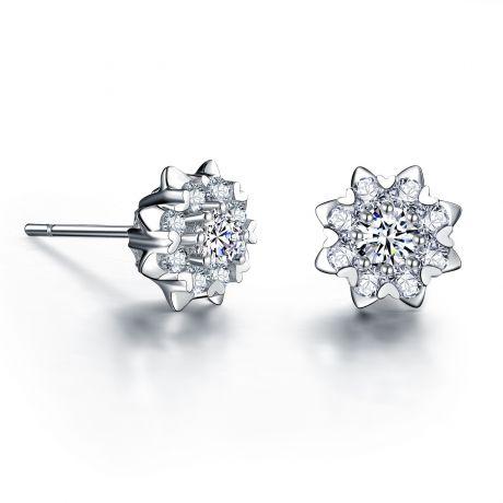 Boucles d'oreilles meravigliosa. Or blanc, diamants 0.26ct