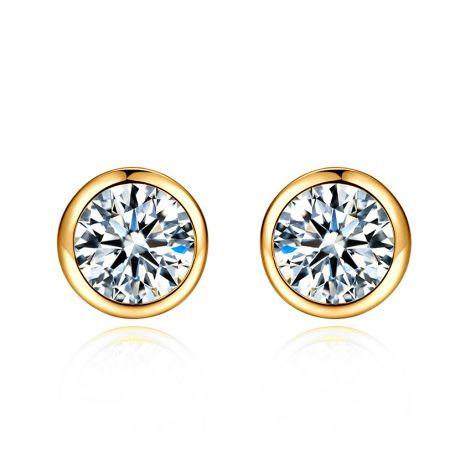 Puces diamants serties clos 0.40ct. Or jaune. Carat personnalisable