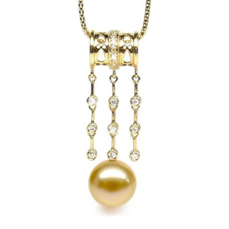 Pendentif luxe ethnique - Perle d'Australie dorée - Or jaune, diamants