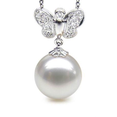 Pendentif papillon or blanc - Perle d'Australie blanche - Diamants