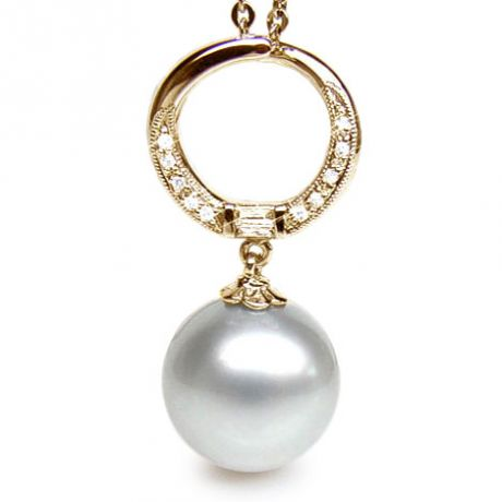 Pendentif anneau or jaune diamanté - Perle d'Australie blanche