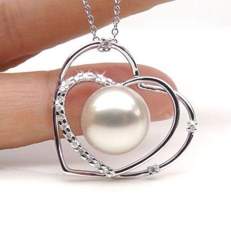 Pendentif coeur - Cadeau déclaration d'amour - Perle Australie blanche