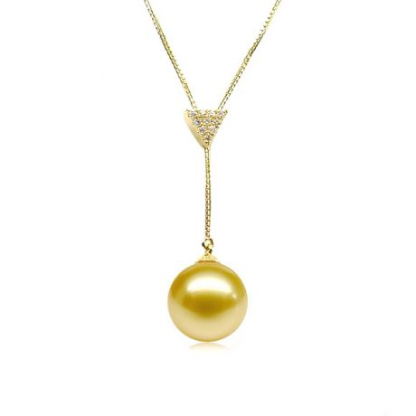 Pendentif bélière or jaune - Perle d'Australie dorée