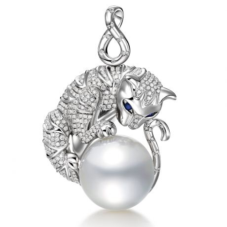 Pendentif Chat - Perle d'Australie, or, diamants - Kingdom of Animals