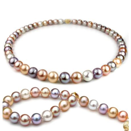 Parure perles culture multicolores - Collier, bracelet perles 7.5/8mm