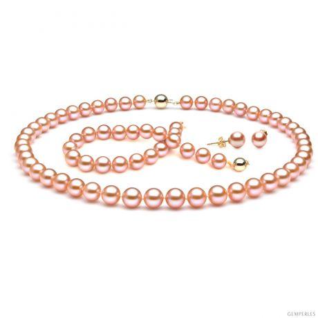 Parure de bijoux en perles de culture eau douce roses - 7.5/9mm - AAA