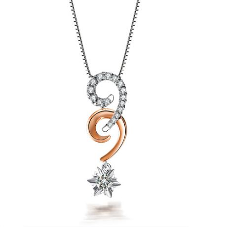 Pendentif 99 - Or blanc et rose - Diamants 0.30ct