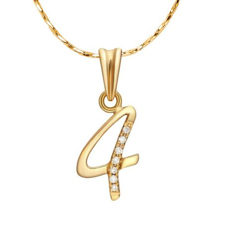 Pendentif 4 - Or jaune 18cts - Diamants 0.015ct