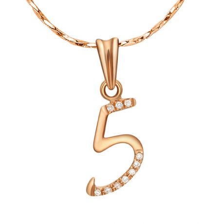Pendentif chiffre 5 - Or rose 18cts - Diamants 0.02ct