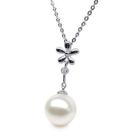 Pendentif fleur or blanc -  Perle eau douce blanche en suspension
