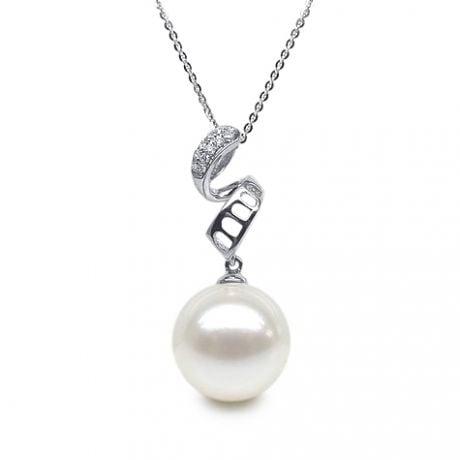 Pendentif tortillon serpentin - Or blanc, diamants - Perle blanche