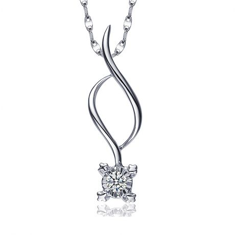 Collier pendentif diamant - Solitaire fleur 0.06ct - Or blanc