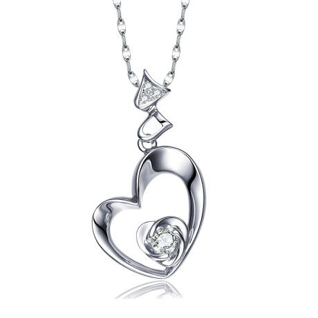 Pendentif Coeur de Rose - Diamants, or blanc
