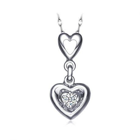 Pendentif double coeur scellé - Or blanc, diamant 0.07ct