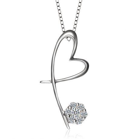 Pendentif coeur en papillon - Or blanc et diamants 0.15ct