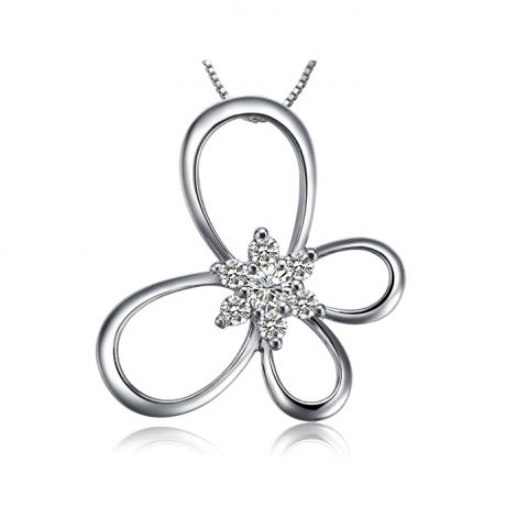 Pendentif fleur en papillon - Or blanc 18 carats - Diamants 0.10ct