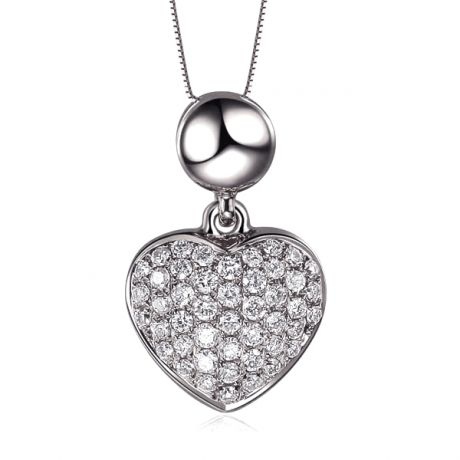 Pendentif coeur pavé de diamants - Or blanc et diamants 0.23ct