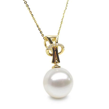 Pendentif auréole or jaune, diamants sertis - Perle d'eau douce