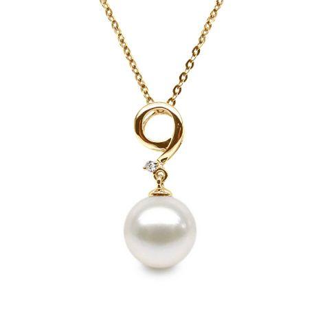 Pendentif nombre 9 - Or jaune et perle de culture - Diamant serti