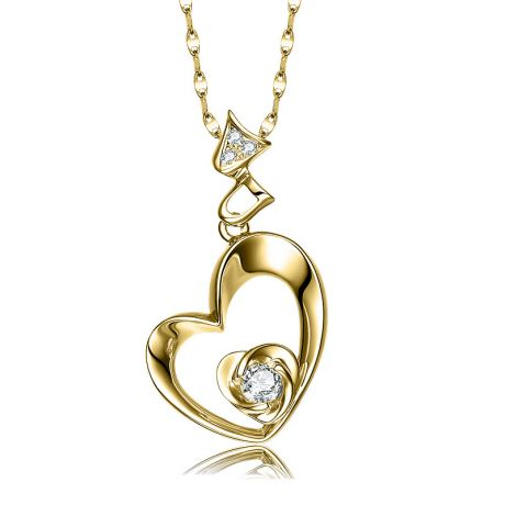 Pendentif Coeur de Rose - Diamants, or jaune