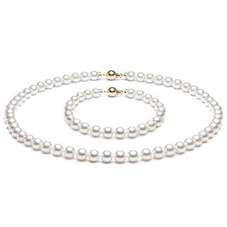 Parure perles Akoya blanches du Japon - Collier et bracelet - 6.5/7mm