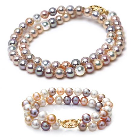 Collier et Bracelet double rang perles de Chine multicolores, 6.5/7mm