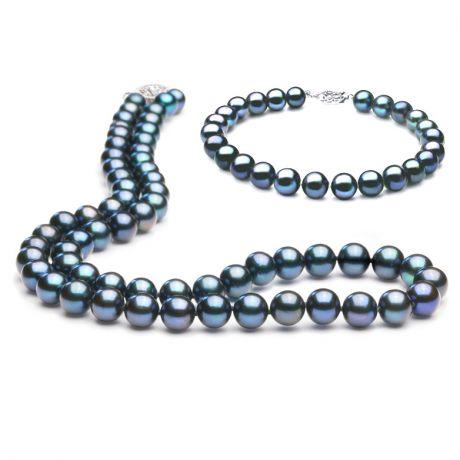 Parure - Bijoux collier et bracelet perles eau douce noires - 7/7.5mm