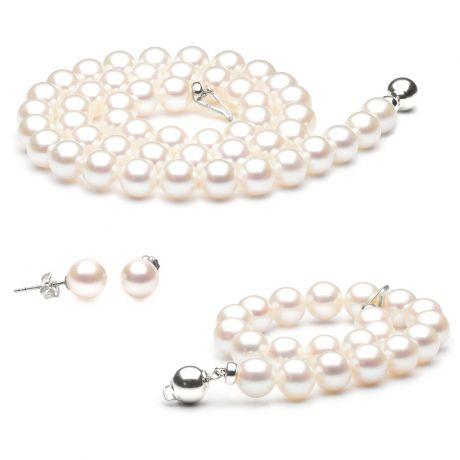 Parure bijoux perles mariage - Collier, bracelet, boucles or blanc