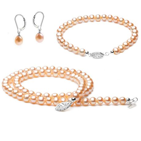 Parure bijoux rose - Perles de culture Chine - Or blanc