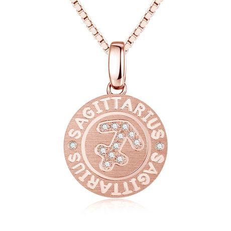 Pendentif Sagittarius Or rose. Signe du sagittaire. Zodiaque