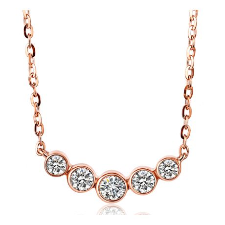 Collier pendentif Or rose. 5 diamants sertis clos 0.26ct