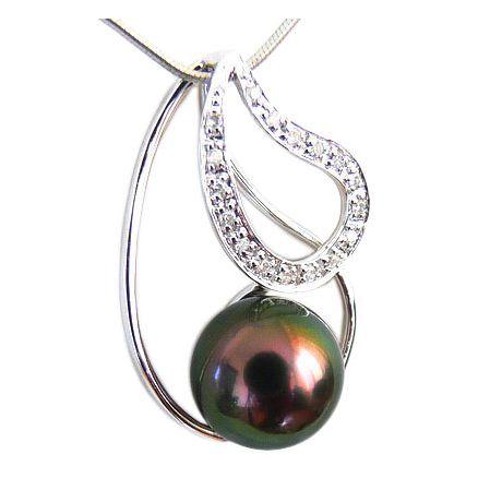 Pendentif Taiarapu - Perle de Tahiti paon aubergine - Or blanc, diamants